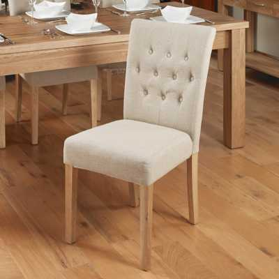 Oak Beige Biscuit Fabric Upholstered Dining Chairs Buttoned Pair of 2