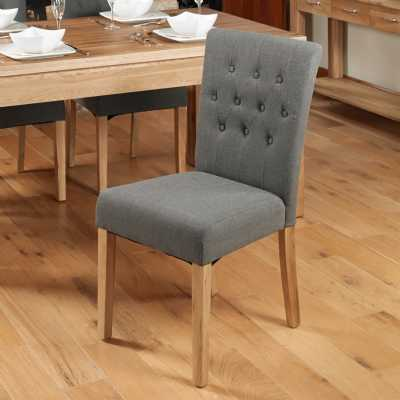 Oak Stone Grey Fabric Upholstered Dining Chairs Buttoned Pair of 2