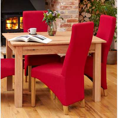 COR03I Baumhaus Pair of Full Back Berry Upholstered Oak Dining Chairs