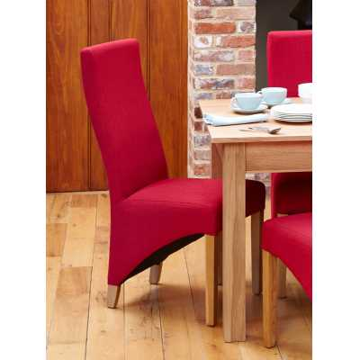 Oak Berry Red Linen Fabric Upholstered Dining Chairs Pair of 2