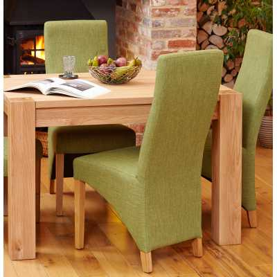 COR03J Pair of Baumhaus Full Back Sage Upholstered Oak Dining Chairs