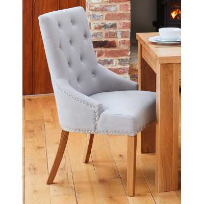 Oak Accent Narrow Back Upholstered Dining Chair Grey (Pack Of Two)