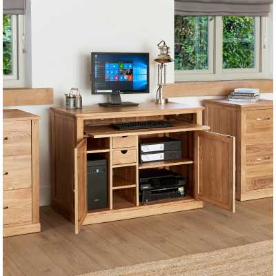 Solid Light Oak Hidden Home Office Computer Desk Storage Cupboard Work Station