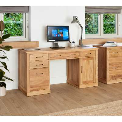 Solid Light Oak Twin Pedestal Computer Desk with Keyboard Drawer PC Cupboard and Filing Drawer