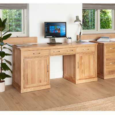 Solid Light Oak Large Hidden Home Office Twin Pedestal Computer Desk