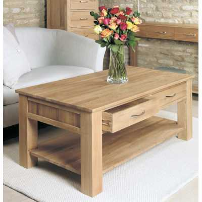 Solid Light Oak 4 Drawer Coffee Table with Lower Shelf Open Base 110cm x 60cm Rectangular