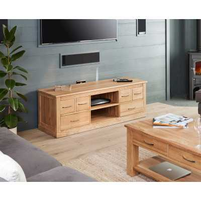 Large Widescreen Television TV Media Cabinet Open Shelf Solid Light Oak 6 Side Drawers