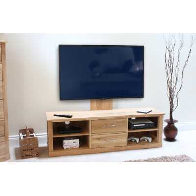 Solid Light Oak Raised Widescreen Television Cabinet TV Media Low Unit