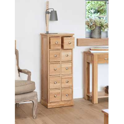 Solid Light Oak Multi 10 Drawer DVD CD Media Storage Chest of Storage Drawers