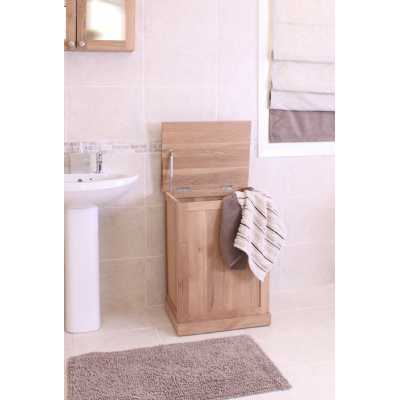 Solid Light Oak Bathroom Laundry Bin Storage Box with Lift Up Lid