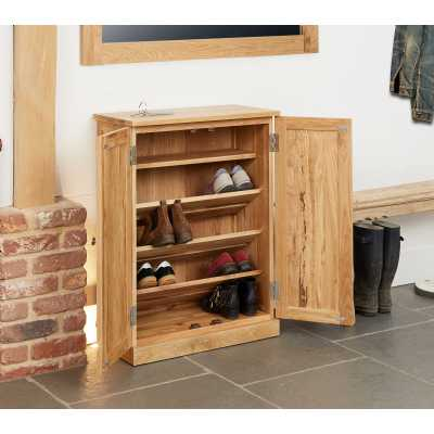Solid Light Oak Shoe Storage Cupboard 2 Doors Slim Entrance Hall Unit