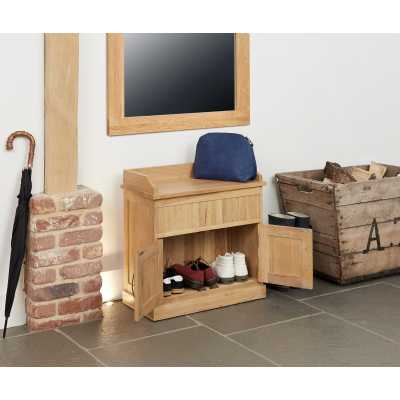 Solid Light Oak Shoe Boots Hall Bench with Hidden Storage Base and Lift Up Lid