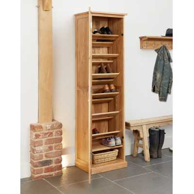 Solid Light Oak Tall Shoe Cupboard Entrance Hall Slim Storage Unit