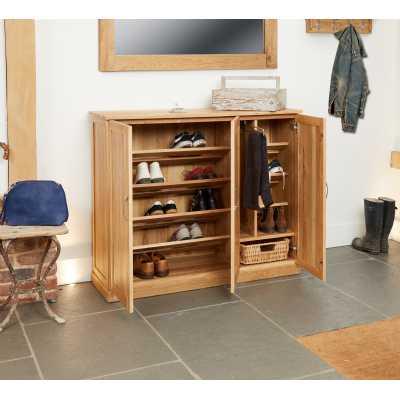 Solid Light Oak Extra Large Wide Shoe Boots Storage Cupboard Unit with Hanging Rail