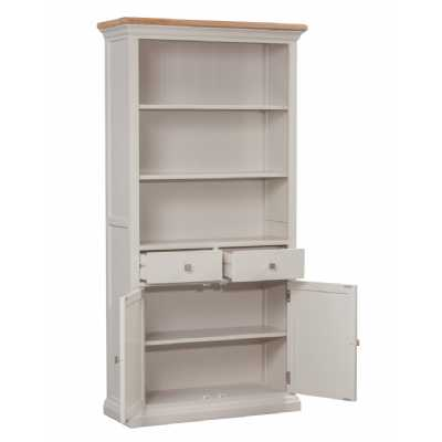 Cotswold Cream Painted Large Bookcase Drawers Cupboard Base Open Shelf Top