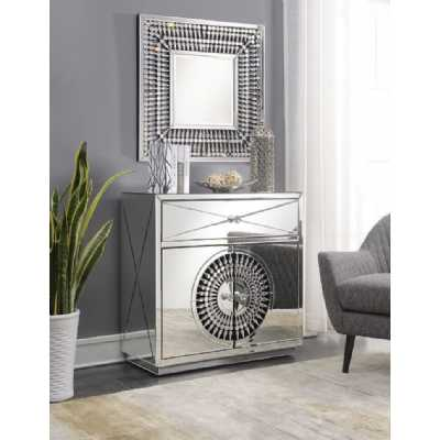 Crystal 2 Door 1 Drawer Chest And Square Wall Mirror Mirrored Glass