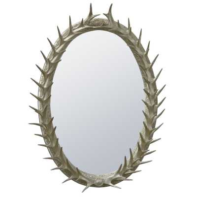 Silver Antler Frame With Beveled Mirror
