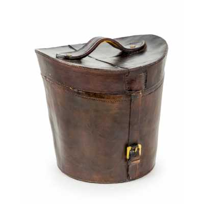 Antiqued Brown Leather Effect Traditional Hat Box Ice Bucket