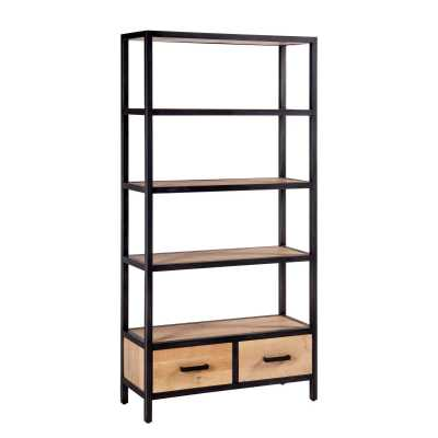 Forge Iron and White Wash Oak Industrial Tall Bookcase with 2 Drawers