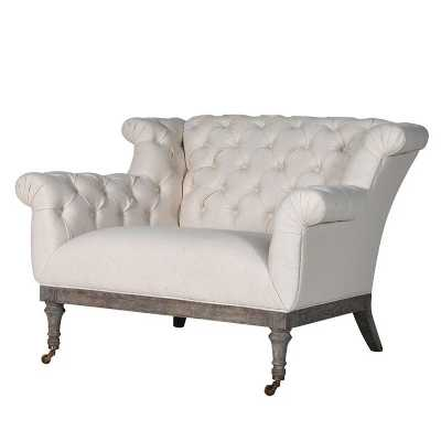 Cream Button Back Love Seat