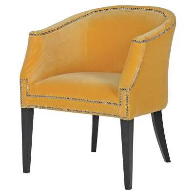 Modern Bright Plush Fabric Upholstered Accent Chair with Stud Detail
