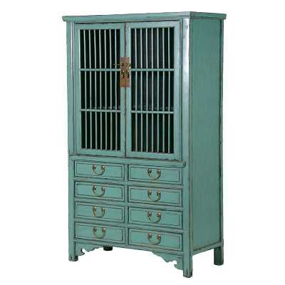 Blue Painted Chinese Antique Style Storage Cupboard With 8 Drawers