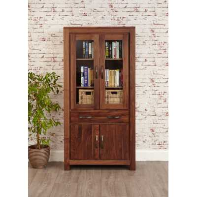 CWC01D Baumhaus Mayan Walnut Large Glazed Bookcase