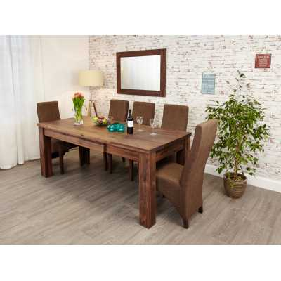 Modern Dark Wood Solid Walnut Extending Dining Table 6 to 8 Seater Dark Wood Finish