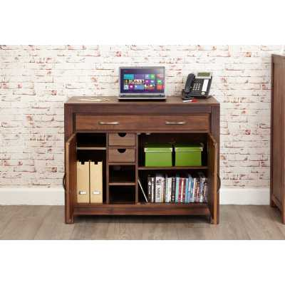 Solid Walnut Hidden Home Office Storage Cupboard Work Station with Keyboard Drawer