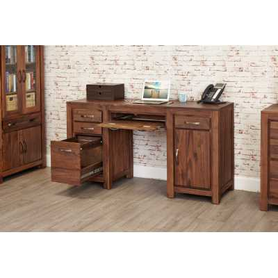 Walnut Twin Pedestal Computer Desk with Keyboard Filing Drawer Home Office Study Desk Dark Wood Finish