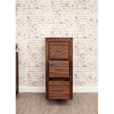 Solid Walnut 3 Drawer Home Office Filing Cabinet in Dark Wood Finish