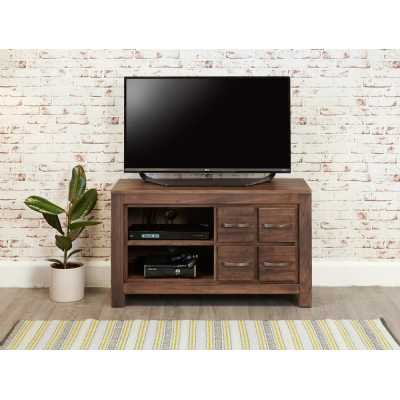 Walnut Wide Screen Television TV Media Cabinet 4 Drawers Dark Wood Finish