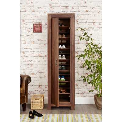Solid Walnut Tall Slim Narrow Shoe Cupboard Entrance Hall Storage Unit Dark Wood Finish