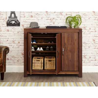 Walnut Extra Large Shoes Boots Storage Cupboard with Pull Out Rail Dark Wood Finish