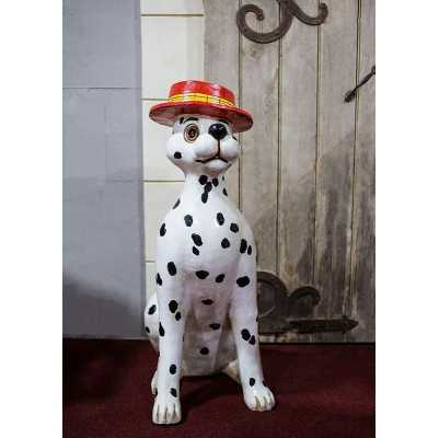 Large Dalmatian Figurine with Red Boater Hat