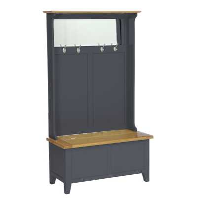 Lacquered Oak Downpipe Painted Hall Storage Bench Coat Rack and Mirror