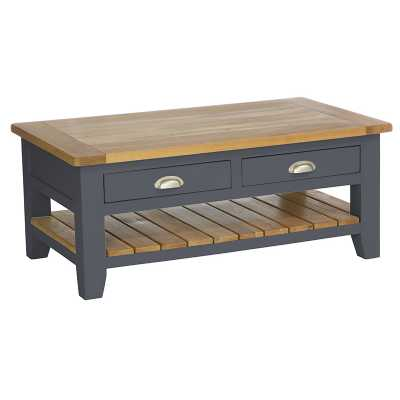 Lacquered Oak and Downpipe Painted 2 Drawer Rectangular Coffee Table