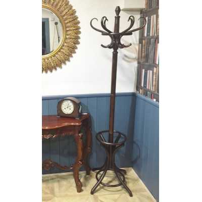 Traditional Style Bentwood Coat And Hat with Stand Dark Wood Stain