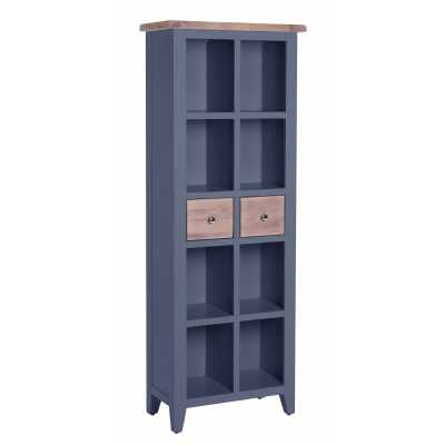 Tall Slim Chalked Oak Painted Downpipe 2 Drawer Bookcase 8 Section