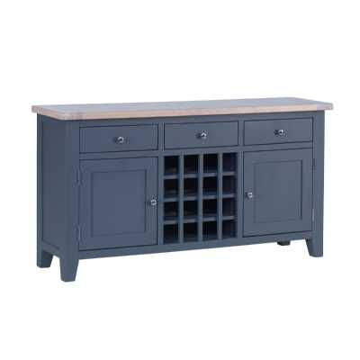 Large Sideboard 3 Drawer Chalked Oak Top Downpipe Painted Wine Rack