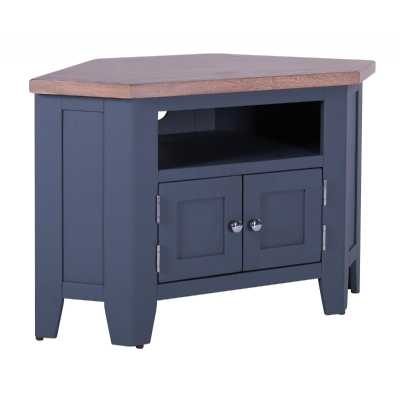 Large Chalked Oak Top Painted Downpipe Corner TV Media Unit 2 Doors