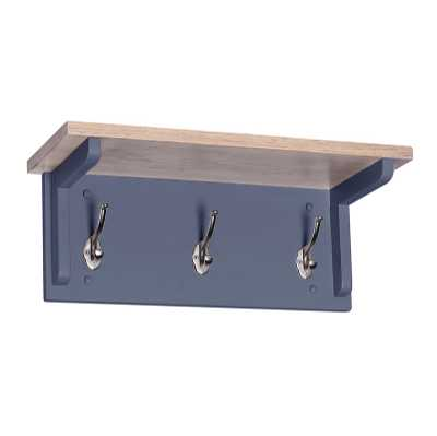 Medium Chalked Oak and Downpipe Painted Coat Wall Rack with 3 Hooks