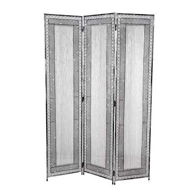 Antique Silver 3 Panel Screen 15. 7 X 70 Inch