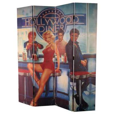 Hollywood Legends Diner 4 Panel Screen Room Divider