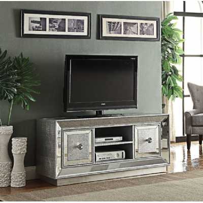 Sofia Modern Silver Detail Mirrored Tv And Media Unit With 2 Cupboards