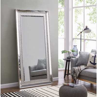 Grand Sofia Silver Extra Large Wall Floor Dressing Mirror 6ft x 3ft