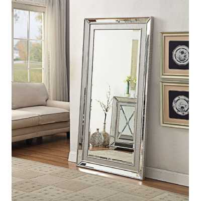 Sofia Modern Silver Mirrored Glass Large Mirror 6ft x 3ft
