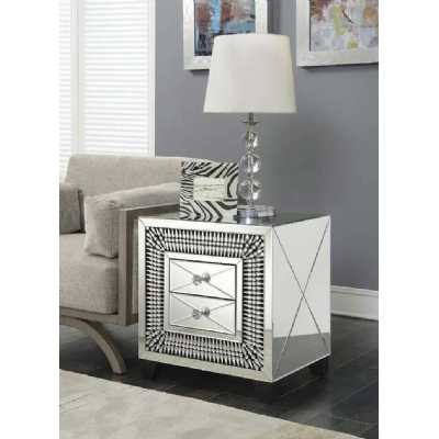 Crystal Modern 2 Drawer Mirrored Glass Lamp Table