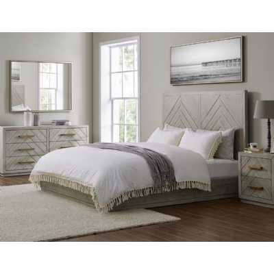 Gilroy Grey Washed 5ft King Size Bed Frame with Parquet Design Headboard