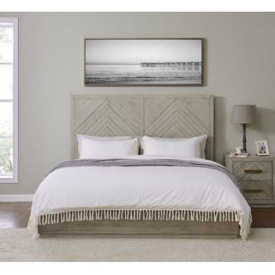 Gilroy Grey Washed 4ft6in Double Bed Frame with Parquet Design Headboard